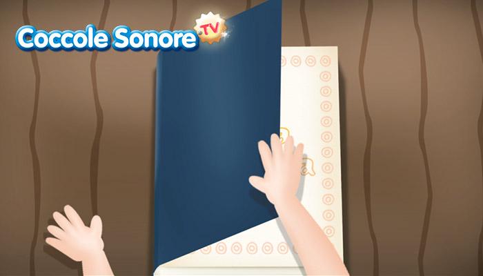 Disegno di mani che sfogliano un libro, coccole sonore