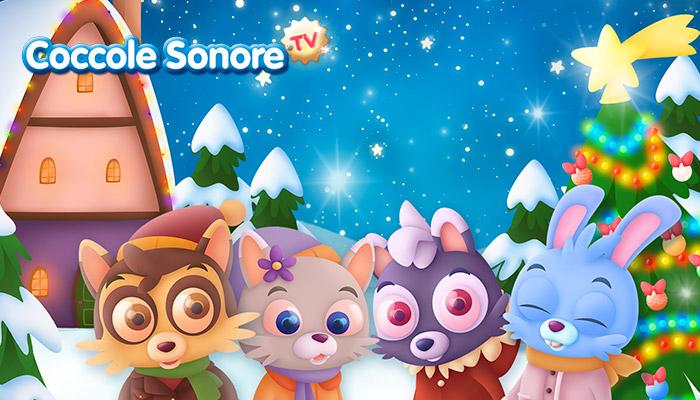 disegno animali su paesaggio natalizio