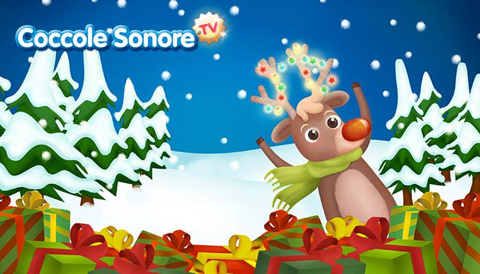 disegno renna con pacchi natalizi