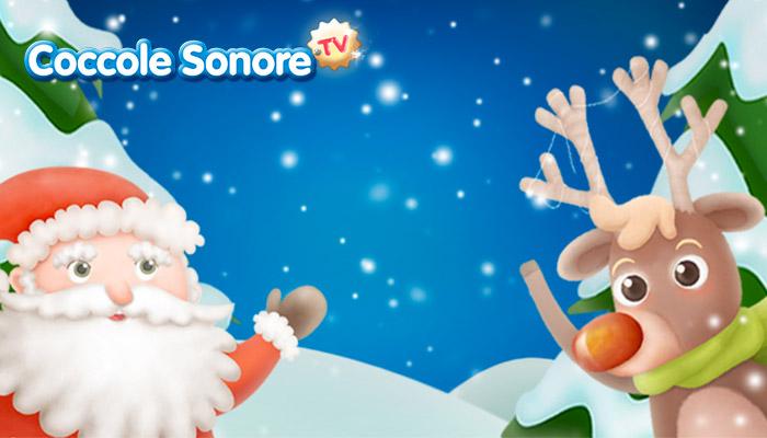 Disegno Babbo Natale e Renna Rudolph, Coccole Sonore