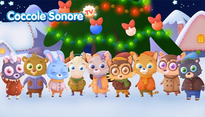Disegno animali sotto albero di Natale