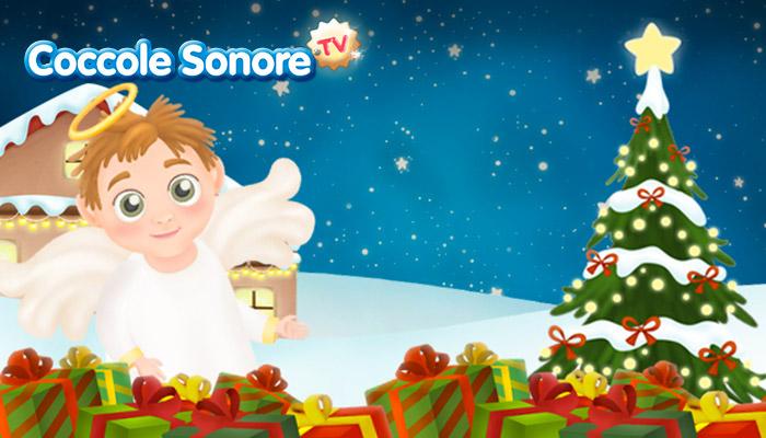 Disegno angelo e paesaggio natalizio