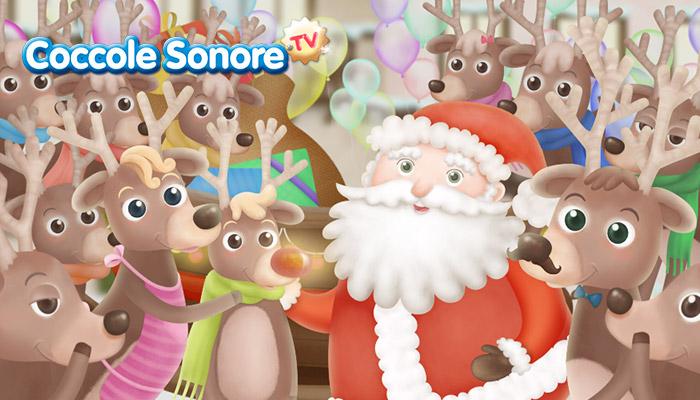 disegno Babbo Natale e le renne