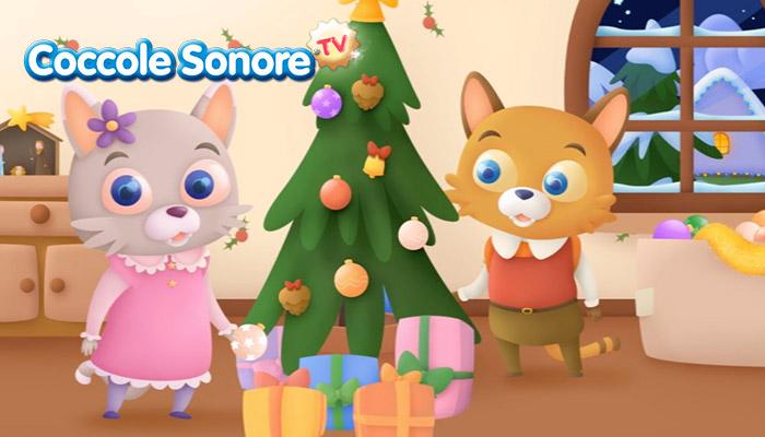Disegno gatti intorno all'albero di Natale