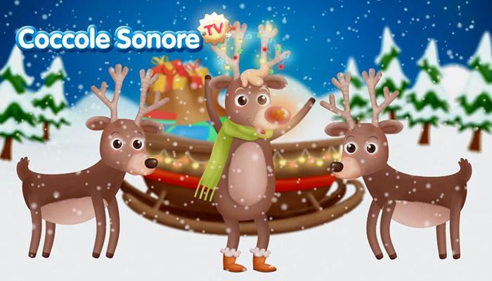 Disegno renne e la slitta di Babbo Natale