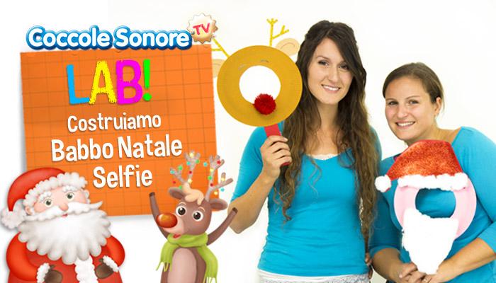 Greta e Federica con maschere babbo Natale, renna Rudolph, lavoretti bambini, coccole sonore