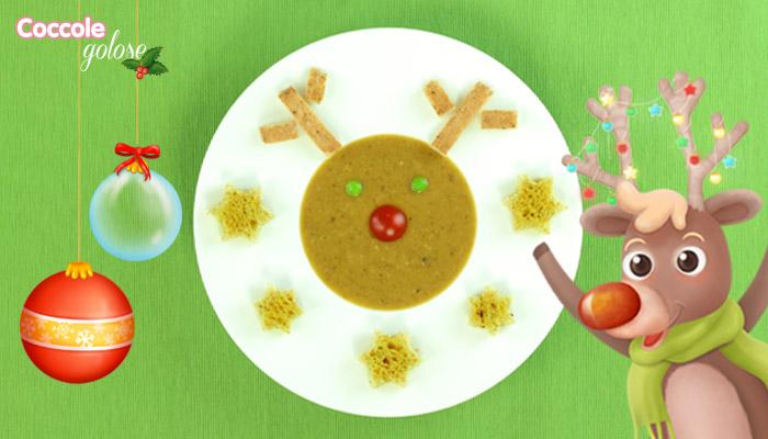Passato di verdure a forma di renna rudolph, ricette di natale per bambini