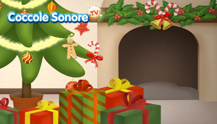 disegno interno casa con addobbi natalizi