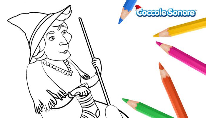 Disegno da colorare la befana con la scopa