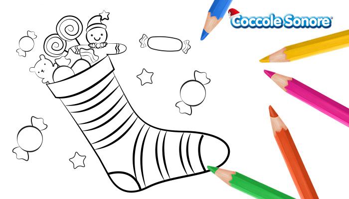 Disegno da colorare, calza della befana piena di dolci