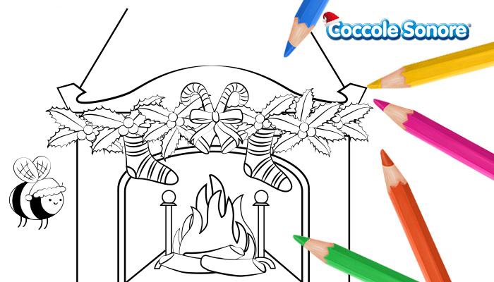 disegno da colorare, camino con calze della befana