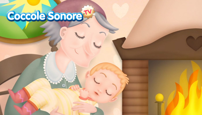 Disegno Befana che culla il bambino