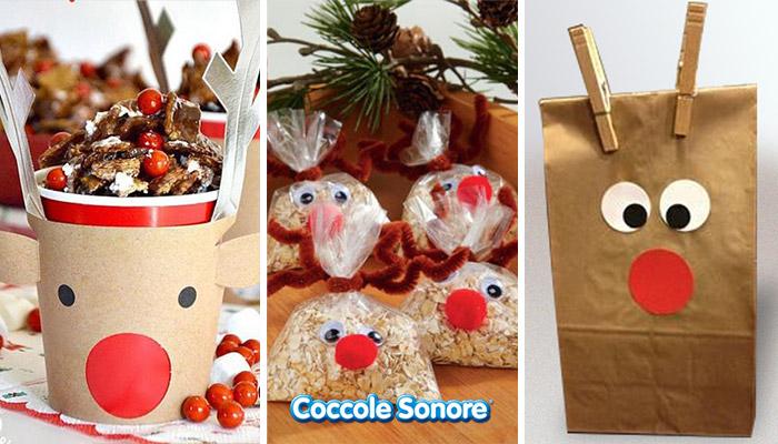 bicchiere di carta e sacchetti di carta a forma di renne, coccole sonore, lavoretti natale