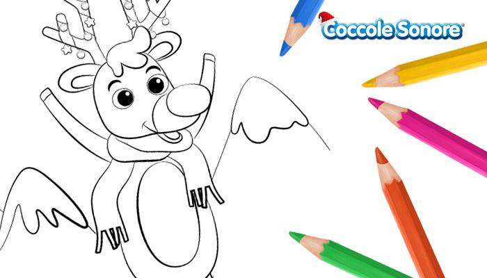 grafica disegni da colorare di Natale la renna Rudolph