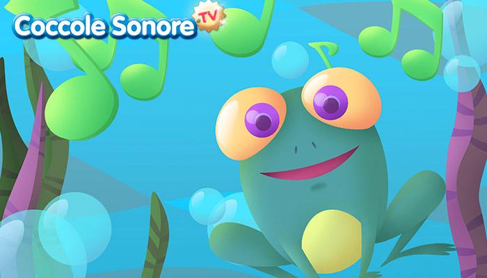 Disegno rana che canta sotto l'acqua