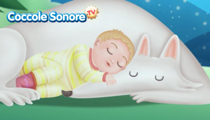 Disegno bambino che dorme tra lupo bianco