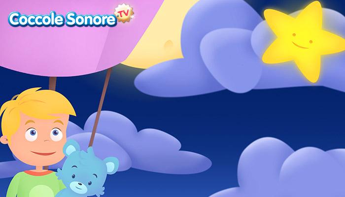 Disegno bambino in mongolfiera di notte col suo orsacchiotto