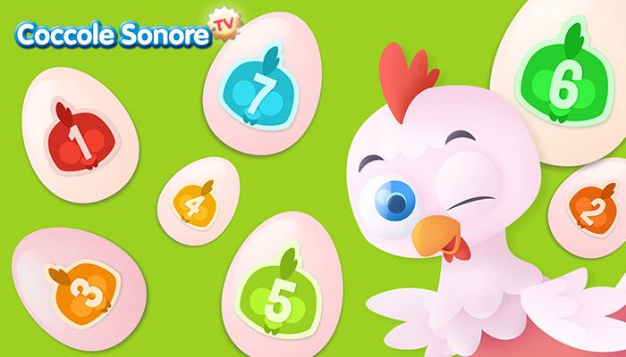 Disegno gallina che fa occhiolino intorno a uova con numeri