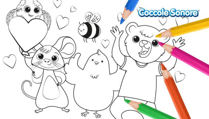 Disegni da colorare San Valentino personaggi canzoncine Coccole Sonore