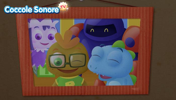 Disegno personaggi di fantasia per bambini in cornice
