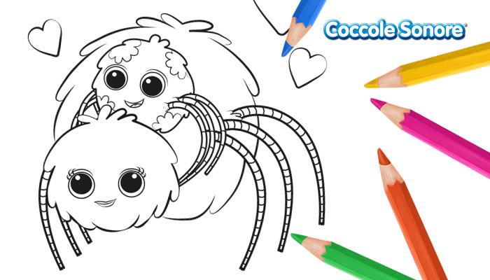 Disegno da colorare San Valentino Whishey il ragnetto e la mamma