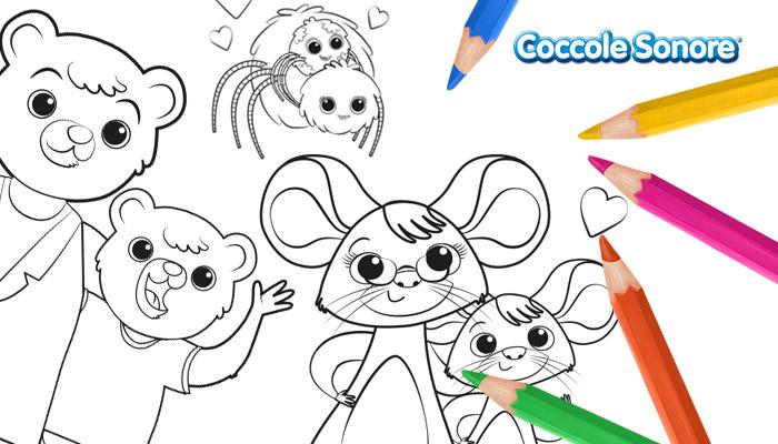 Disegni da colorare San Valentino animali Coccole Sonore