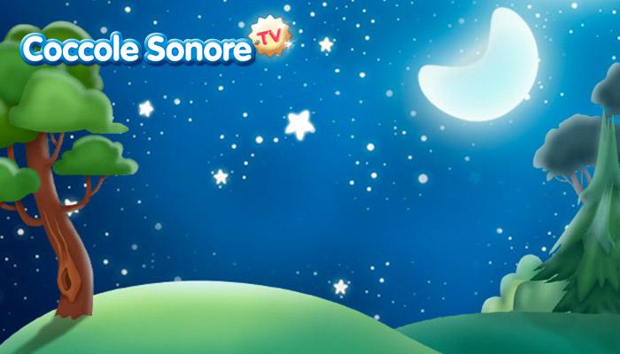 Disegno paesaggio notturno con luna