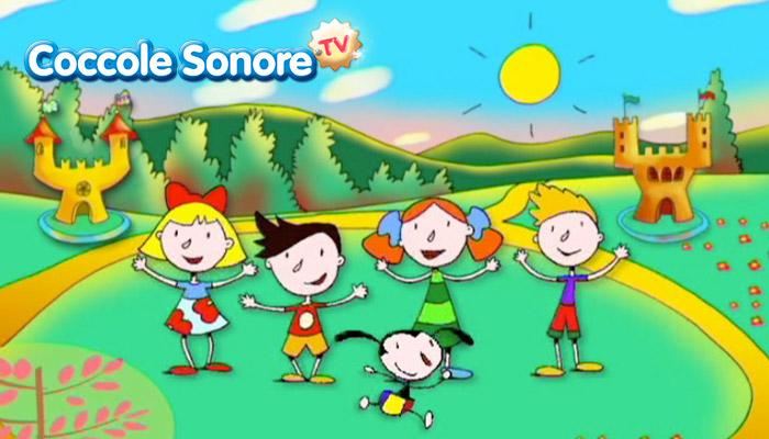 Disegno bambini che ballano sul prato davanti a due castelli, coccole sonore