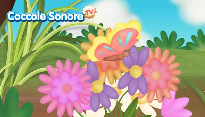 Disegno farfalla tra i fiori