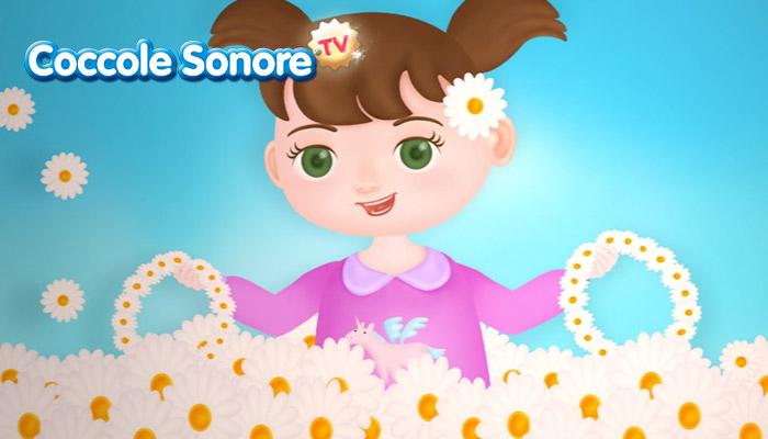 Disegno bambina che gioca con ghirlande di fiori