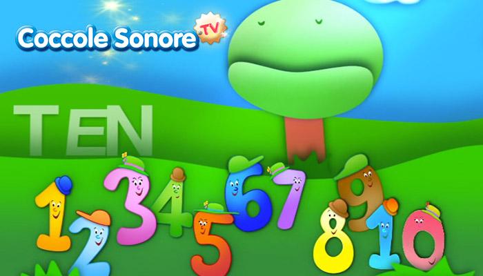 Disegno di numeri dall'1 al 10, coccole sonore