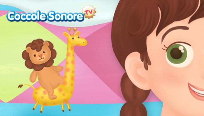Disegno occhio di bambina in primo piano, leone su giraffa, coccole sonore