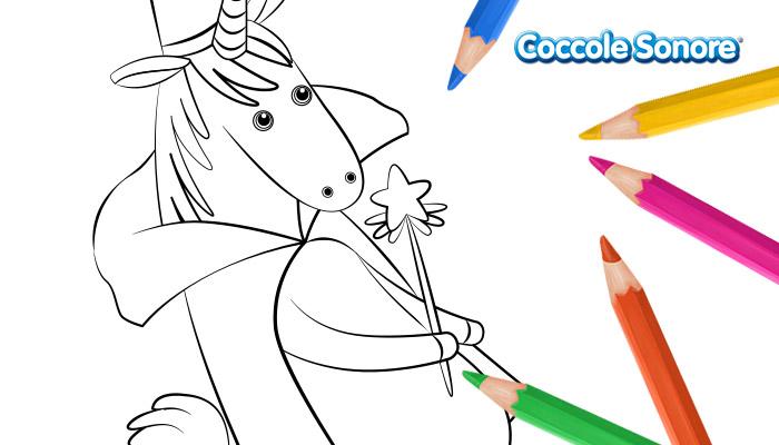 Disegni da colorare, Unicorno mascherato, Coccole Sonore