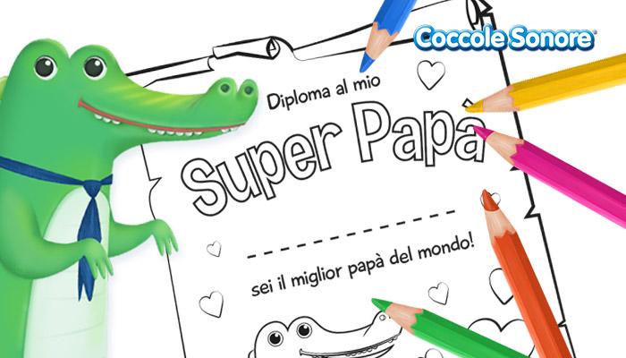 Disegno da colorare, diploma super papà coccodrillo