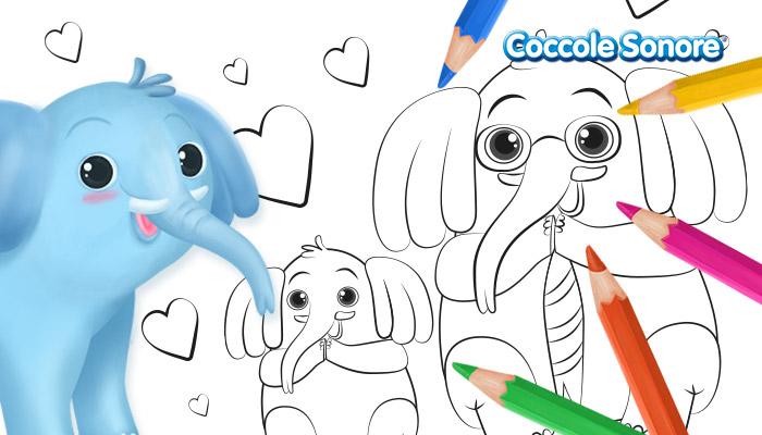 Disegno da colorare papà elefante con figlio