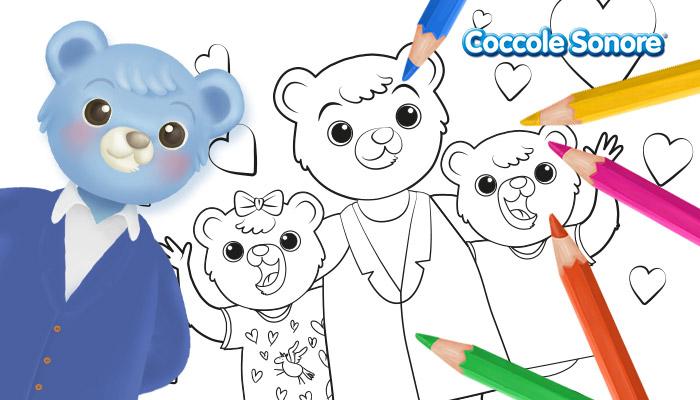 Disegno da colorare papà orsetto con i figli