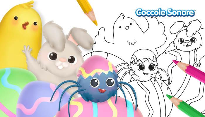 coniglietto di Pasqua, whiskey il ragnetto e il pulcino, disegni da colorare Pasqua, Coccole Sonore