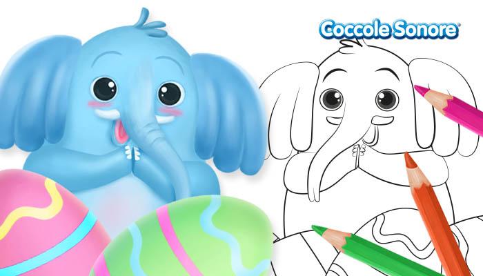 elefante, disegni da colorare di Pasqua