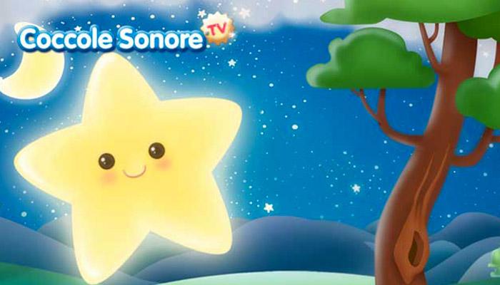 Disegno stella che brilla su paesaggio notturno