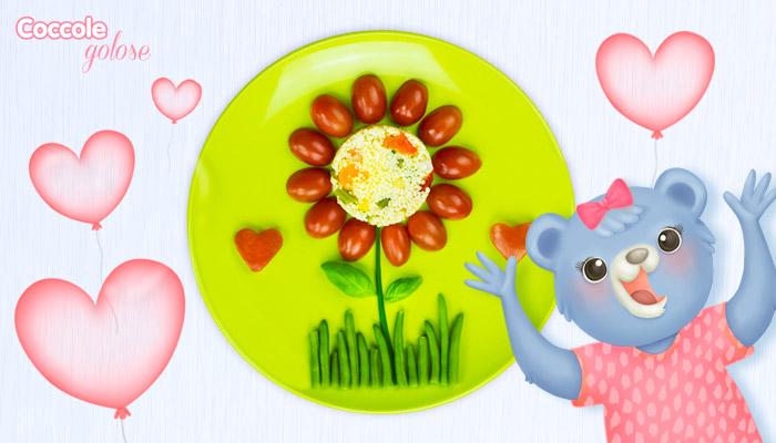 Cous cous vegetariano, coccole golose, impiattamento a forma di fiore