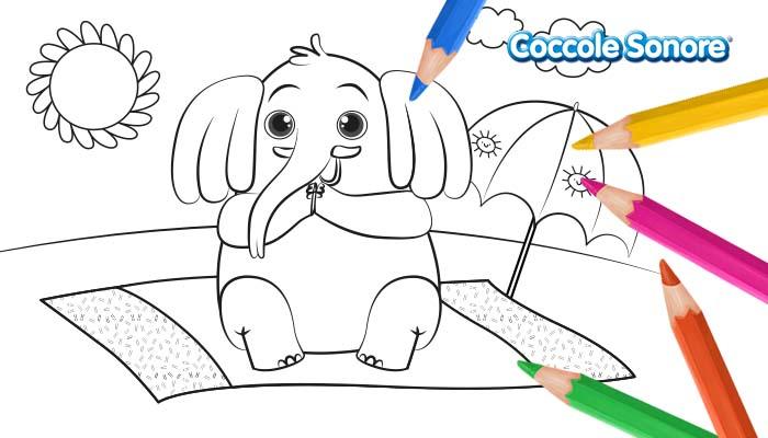 disegno da colorare elefante al mare