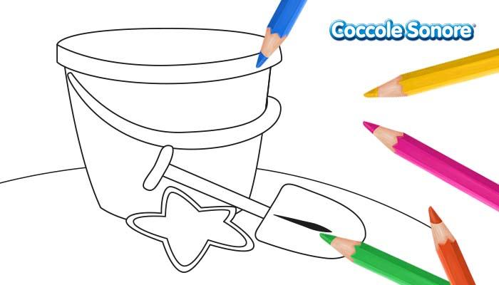 Disegno da colorare secchiello e paletta