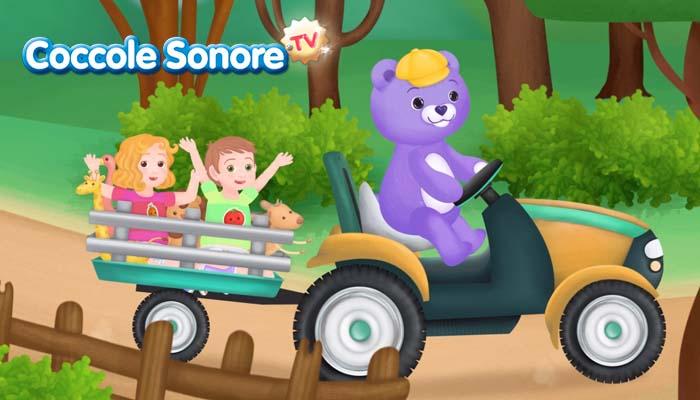 disegno orsetto che guida trattore con bambini Coccole Sonore Pampers
