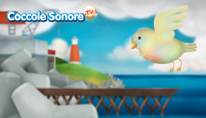 Disegno uccellino che vola su paesaggio marino