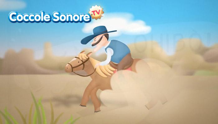 disegno di uomo con cappello a cavallo, coccole sonore