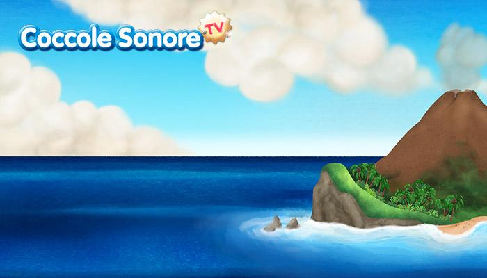 disegno di isola nell'oceano, cielo nuvoloso, coccole sonore
