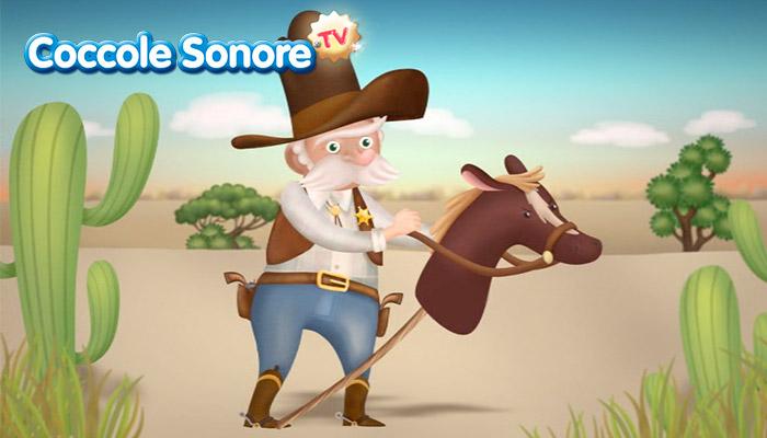 Disegno sceriffo salta in groppa a cavallo gioco, coccole sonore