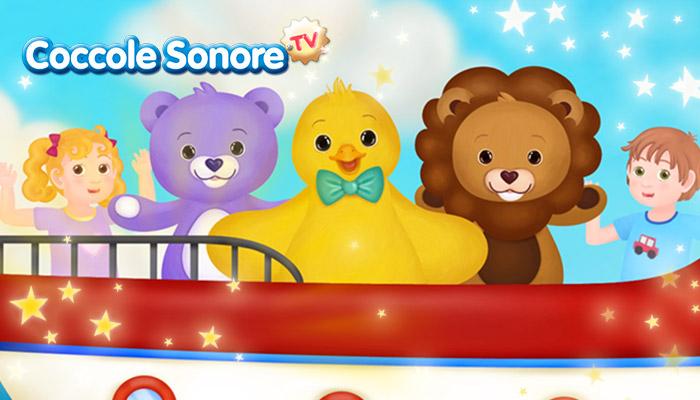 Illustrazione pulcino, orso e leone su una nave con una bambina e un bambino, Coccole Sonore