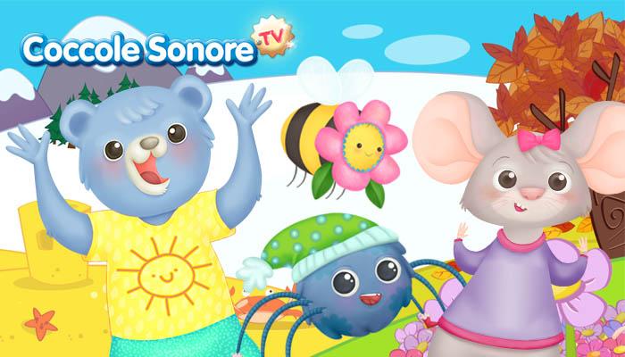 Personaggi di Coccole Sonore sullo sfondo di stagioni diverse