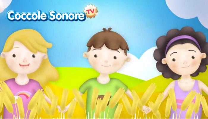 Disegno girotondo di bambini nel campo di grano